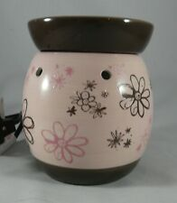 Scentsy Warmer Large DOODLE BUD Pink Brown Wax Scent Warmer