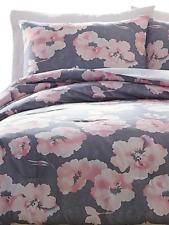 Jessica Simpson Nyssa 3-Piece Pink Floral 88x96 Grey Comforter Set, Queen