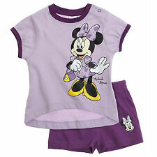 DISNEY ensemble short + t-shirt MINNIE violet taille 6 mois NEUF