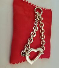 BEST Signed Silver tone LINK with HEART - TOGGLE Bracelet