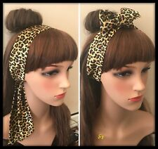 Silky Animal Print Headband Bandana Headscarf Hair Tie Band Hairband Fabric Bow