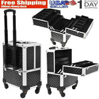3 in 1 Aluminum Rolling Makeup Train Case Studio Cosmetic Trolley Storage Box US