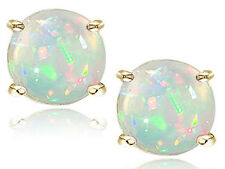 Round Cut White Opal 14k White Gold Sterling Silver Stud Earrings New