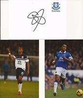 EVERTON * SYLVAIN DISTIN SIGNED 6X4 CRESTED WHTE CARD+2 FREE UNSIGNED PHOTOS+COA