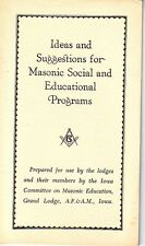 Ideas and Suggestions for Masonic Social Programs Iowa Grand Lodge Booklet