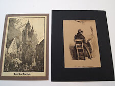 LOT OF 19 VINTAGE PRINTS ENGRAVINGS FRANCE FRENCH CATHEDRALS CASTLES COUNTRY
