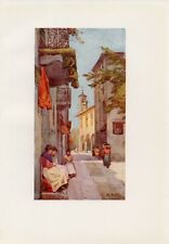 Stampa antica UNA VIA ad ORTA Lago d' ORTA 1905 Old antique print