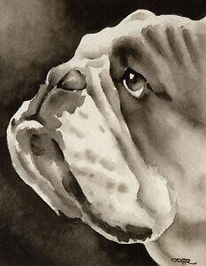 Bulldog Art Print Sepia Watercolor Painting by Artist DJR