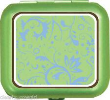#8463 -- WELLSPRING GREEN BLUE FLORAL ALUMINUM PILL BOX -WOW!