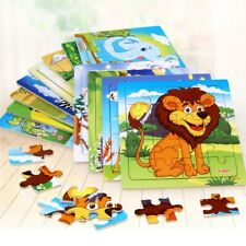 24 Intelligence Kids Toy Wooden 3D Puzzle Jigsaw Tangram Baby Cartoon Animal Toy