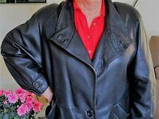 "Manteau femme CUIR véritable 3/4 Noir ""REAL LEATHER"" occasion - TBE - Taille 46"