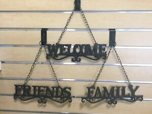 "Cast Iron ""Welcome,Friends, Family"" Wall Hanging With Chains And FREE SHIPPING"
