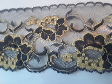 """4"""" Black & Gold rose Flat Lace 50 cents a yard, min. 4 yards -continuous pieces"""