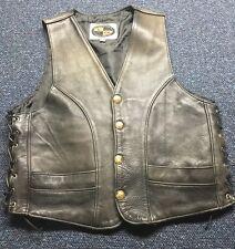 Motorcycle Clothing Co. Leather Vest Black Size 44
