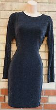 PINK BOUTIQUE BLACK SILVER GLITTER COWL BACKLESS BODYCON PARTY TUBE DRESS 12 M
