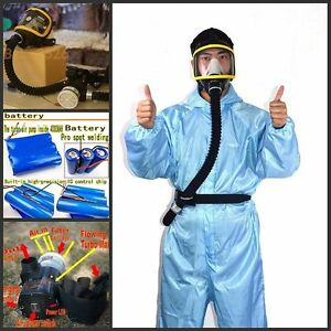 Battery Air fed Mask Supplied Constant Flow Full Face respirator system+ filters