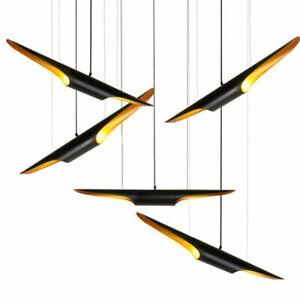 Black+Gold Art Decoration Inner Pendant Light Aluminum Pipe Pendant Lamp Hanging