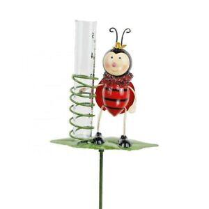 Rain Gauge Garden Metal Stake Ladybug Decorative Outdoor Yard Decor