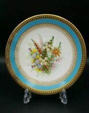 More details for royal worcester c.1878 hand painted 'plants' cabinet plate-good condition