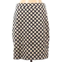 J.Crew Factory Store Casual Skirt Straight Navy Blue Ivory Polka Dots Size 10