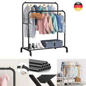 Kleiderständer Garderobenständer aus Metall 2 Kleiderstangen 1 Ablage DHL