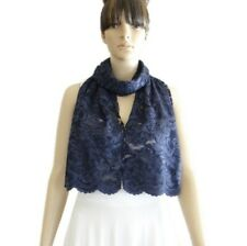 Navy Blue Wrap Scarf. Soft Long Scarf. Navy Lace Shawl. Lace Handmade Scarf.