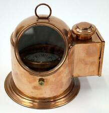 NAUTICAL Marine NAVIGATION Brass Copper Finish BINNACLE COMPASS with OIL LAMP