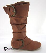 Womens Shoes Combat Boots Military Motorcycle Mid Calf Flat Heel Buckles Zipper