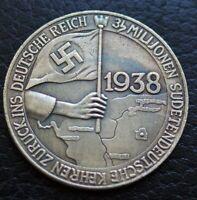 WW2 GERMAN COIN SUDETEN AUSCHLUSS 1938 ADOLF HITLER DEUTSHES REICH