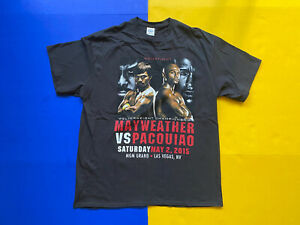 2015 Floyd Mayweather vs Manny Pacquiao Graphic Black T Shirt Size XL