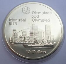 Canada 10 Dollars 1973 Silver coin UNC Montreal skyline Montreal Olympics 1976
