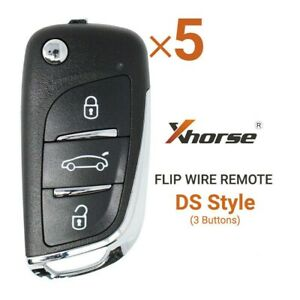 5PCS Xhorse Universal Wire Flip Remote Key DS Style 3 Buttons XKDS00EN for MAX