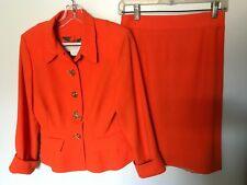Nina Ricci Orange Sparkly Skirt Suit with Fabulous Buttons - Size S