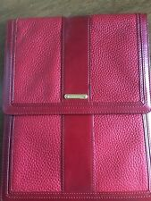 Burberry Nova Check Cherry Red Pebbled Leather iPad Case