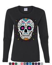 Floral Sugar Skull Day of the Dead Long Sleeve T-Shirt  Calavera