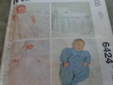 MCCCALLS  SEW PATTERN BABY GOWN PJ BASS COV SZ 3 MONTH UNCUT FACTORY FOLDED 6424
