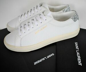 🆕️ Auth SAINT LAURENT ANDY White PERFORATED LEATHER LOW-TOP Sneakers EU-36 US-6