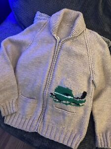 Vintage 1950's Cowichan Wool Sweater Cardigan Knit Full Zip Snowmobile NICE!!
