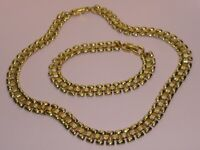 Monet signed vintage 22ct-gold-plated necklace and bracelet set