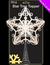 30cm Beautiful White Glittery Tree Top Star - Christmas Tree Topper (DP38)