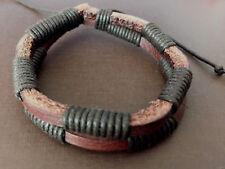 (2) Leather Bracelets Unisex Men Women Fashion Handmade Stretchy Adjustable