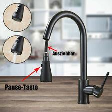 Ausziehbar Küchenarmatur Wasserhahn Spültisch Mischbatterie Schwarz Edelstahl