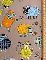 Funny sheep fabric UK fat quarter 56cm x 50cm approx 100% cotton farm animals