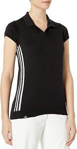 adidas Woman's Sweater Knit Short Sleeve Polo Donna L Black NWT
