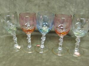 Vintage 1960's Made in Italy Stained Cut Overlay Made in Italy Small Wine Stems