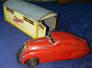 Antique Schuco 1750 clockwork car with Garage No: 1500