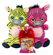 "10"" Zebra Plush Stuffed Animal Valentines Pair Holding Heart w/ Haribo Goldbears"