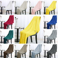 Super Soft Warm 100% Cotton Cable Knit Throw Blanket for Sofa Couch Home Bedding