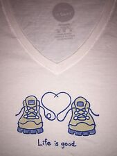 "Life is Good Women's-MEDIUM-""LOVE BOOTS"" HIKING- S/S T-Shirt SIMPLY IVORY- NWT"