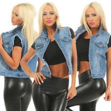 4024 Sexy Damen Jeansweste Ärmellos Jeans Weste Streetlook Jeans Jacke Fransen
